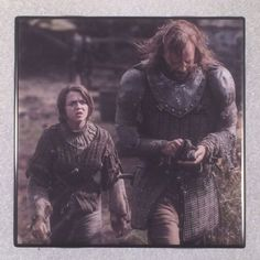 "THE GAME OF THRONES Arya Stark & Sandor Clegane Ceramic Tile Coaster ""The Hound"""