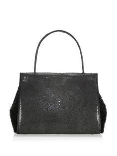 NANCY GONZALEZ Wallis Mink Fur, Crocodile & Stingray Tote. #nancygonzalez #bags #hand bags #fur #suede #tote #lining #