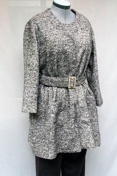 Manteau tweed chiné marron foncé et beige pour femme : Manteau, Blouson, veste…