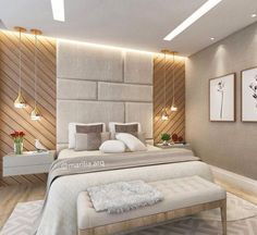 Eu Te Inspiro - Arquitetura: Suíte do Casal com cabeceira acolchoada e painel de madeira.Imagine this as your feature wall and where the bed is, replace with your welcome desk. Having wallpaper on each side of the panel wall with lighting suspended and L Luxury Bedroom Design, Bedroom Bed Design, Modern Master Bedroom, Bedroom Sets, Master Suite, Modern Luxury Bedroom, Modern Headboard, Bedroom Small, Contemporary Bedroom