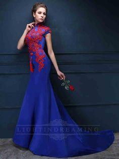 Lace Appliques Blue Long Prom Dress 150601tb11
