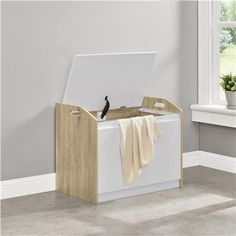 Ameriwood Home Stafford Hamper, Weathered Oak/White White Laundry Hamper, Laundry Baskets, Bathroom Furniture, Home Furniture, Big Lots Store, Toilet Storage, Weathered Oak, White Rooms, Particle Board