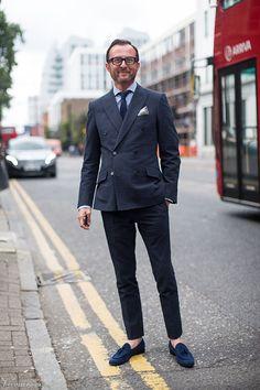 Navy Seersucker Suit, double breasted London men's fashion