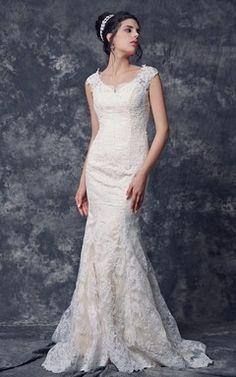 Cap Sleeve Mermaid Long Lace Wedding Dress with Illusion Back