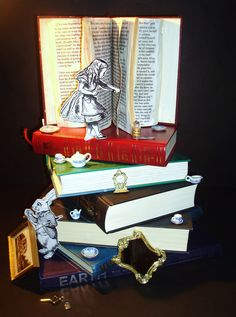 Alice in Wonderland -Things She Loves - Book Art
