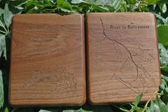 River to Retirement River Map Fly Box - Walnut Wood. This was a fun fly box to build, design, and engrave. What a cool and novel idea.