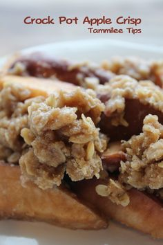 Crockpot Apple Crisp  Ingredients  4-5 C apples, sliced  1 C oats  1.5 C flour  1 C packed brown sugar  1/2 C sugar  3 tsp. cinnamon  3/4 C butter  Spray Crock-Pot with nonstick spray. Line with apples. Melt butter and mix with all remaining ingredients, pour over apples. Cook high 3 hours or low 4-6 hours.
