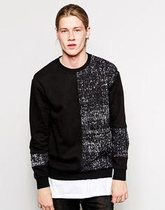 Weekday+Crew+Sweatshirt+Fly+Chalk+Print+Cut+&+Sew+Panels