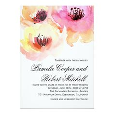 Peach and Pink Watercolor Floral Wedding Paper Napkin - Lovely watercolor blooms in bright shades of pink and peach with a touch of yellow make an excellent choice for spring, summer and fall weddings. Sold at Oasis_Landing on Zazzle. Peach Wedding Invitations, Watercolor Wedding Invitations, Wedding Invitation Design, Pink Invitations, Floral Invitation, Wedding Stationary, Invites, Wedding Paper, Wedding Cards