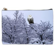 White Winter Owl Cosmetic Bag