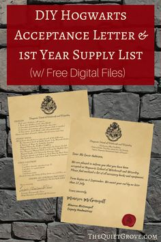 DIY Hogwarts Acceptance Letter & 1st Year Supply List (w/ Free Digital Files) ⋆ The Quiet Grove