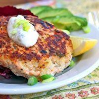 Salmon burgers with green yogurt sauce by Gail