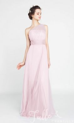 Elegant Long Tulle Illusion One Shoulder Bridesmaid Dress TBQP405 click for 40+ colors
