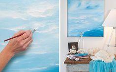 Home Decor, Wonderful Design Von Diy Strand inspiriert Wall Art Ideas Mit Blue Beach Wall Art On White Wallwith Beste Style Of Tischlampe auf Beistelltisch On Schlafzimmer mit gute Dekoration Idea ~ Bestes Raum-Dekor-Ideen durch Verwenden des Strandes themenorientierte Wall Art
