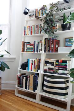 shelving idea for office, living room or even dining room (see the rest of this house to see that these people have our table & chairs and the shelving setup in their dining room)