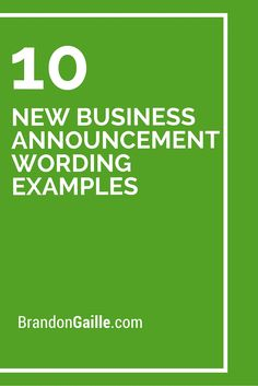 10 New Business Announcement Wording Examples