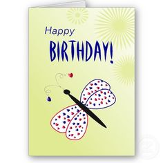 Happy Birthday butterfly with lovely floral stars Greeting Cards