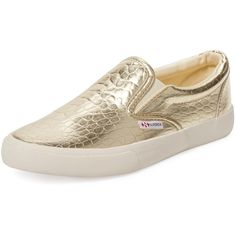 Superga Embossed Metallic Slip-On Sneaker ($79) ❤ liked on Polyvore featuring shoes, sneakers, gold, gold slip on sneakers, rubber sole shoes, superga sneakers, slipon shoes and metallic shoes
