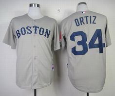 Boston Red Sox #34 David Ortiz Grey MLB Jerseys