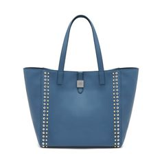 Eye-catching studs - Tessie Tote in Steel Blue Soft Small Grain Matt With Rivets