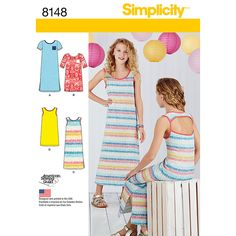 Girls Knit Dresses Each in Two Lengths Simplicity Sewing Pattern 8148. Age 8 to 16y.