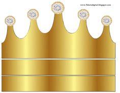 Corona Dorada en Azul y Brillantes: Coronas para Bodas para Imprimir Gratis.