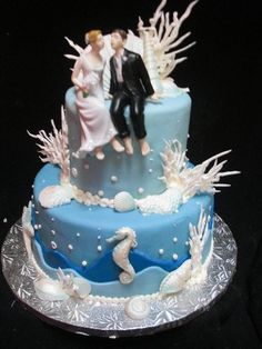 Ocean theme wedding cake by PastryPalaceLV.com, via Flickr