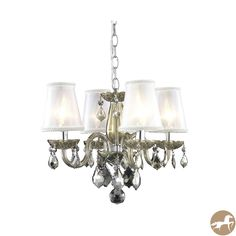 Rococo 4-Light Golden Teak Chandelier with Crystals and Shades - Overstock™ Shopping - Great Deals on Chandeliers & Pendants