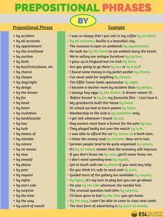 Prepositional Phrase (Locução Prepositiva): For English Grammar Rules, English Writing Skills, English Vocabulary Words, English Phrases, English Language Learning, English Words, Teaching English, German Language, Japanese Language
