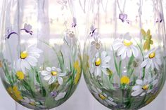 Daisy Wine Glasses Set of Two by BonnysBoutique on Etsy
