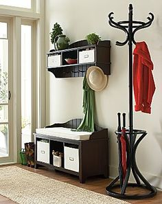 Ashton Bench & Wall Storage Shelf with Baskets - jcpenney. Great idea if you need this for storage but have a light switch you shouldn't cover!!