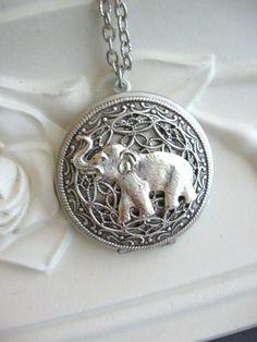 Elephant,LOCKET,Silver Locket, Elephant Necklace,Elephant Pendant,Lucky Elephant,Locket Necklace,Safari,Baby Elephant,Elephant Jewelry xoxox...
