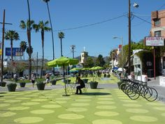 sunset triangle plaza, los angeles. a former street turned in to a polka-dotted plaza! photo by anna peccianti // The Accessible City