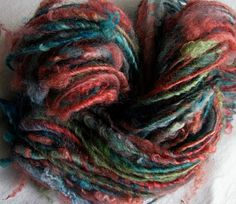 "SheepingBeauty on Etsy. Multicolor single-ply yarn hand-spun from Romney locks that were hand-dyed in ""Karalla"" colorway by Hollyeqq on Etsy."