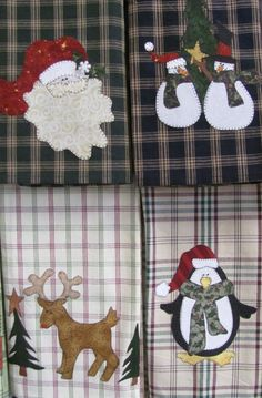 Holiday Tea Towels  Applique  PDF Pattern by quiltdoodledesigns on Etsy