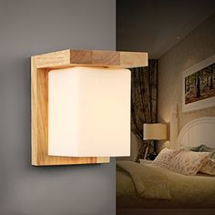 Injuicy Lighting Loft Industrial Vintage Sconces Wood Glass Edison Led Wall Light Study Bedroom Balcony Living Room Wall Lamps Fixtures Bar Cafe Home Lighting Decor *** Click on the image for additional details.