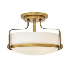 Harper 14 Inch 3 Light Semi Flush Mount - Harpers sleek, retro design elevates the traditional flush mount with a unique opal glass bound by a prominent metal ring and decorative knobs available in four finishes. Semi Flush Ceiling Lights, Semi Flush Lighting, Foyer Lighting, Hinkley Lighting, Ceiling Light Fixtures, Kitchen Lighting, Luxury Lighting, Lighting Ideas, Bedroom Lighting