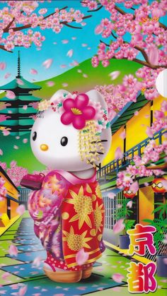 Wallpaper... By Artists@Sanrio... Hello Kitty Drawing, Hello Kitty Art, Hello Kitty My Melody, Hello Kitty Themes, Hello Kitty Pictures, Hello Kitty Birthday, Here Kitty Kitty, Apple Wallpaper, Rose Wallpaper