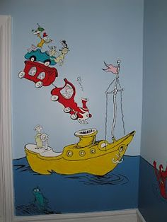 room mural close up on Dr Seuss Green Eggs & Ham - Modern Playroom Mural, Wall Murals, Dr Seuss House, Dr Seuss Mural, Dr Seuss Activities, Dr. Seuss, School Murals, Murals For Kids, Toy Rooms