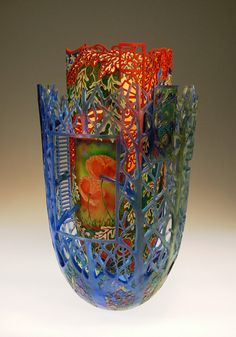 """Kiss the Sun"" by Binh Pho. Height: 17"", Width: 11"". Cast glass, box elder, acrylic paint. $46,250"
