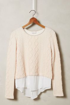 Skirted Cable Pullover - anthropologie.com