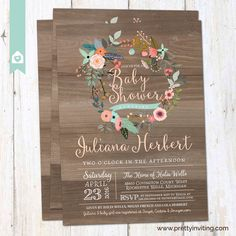 Rustic Wood Baby Shower Invitation, Vintage Baby Shower Invite, Floral Wreath, Shabby Chic Country Shower - Baby girl, twins - printable by PrettyInvitingPrints on Etsy https://www.etsy.com/listing/261504129/rustic-wood-baby-shower-invitation