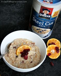 Overnight Cranberry Orange Steel Cut Oatmeal - Could I eat oatmeal for breakfast every day for five days? Love these yummy ideas! #MyOatsCreation #spon