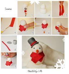 Sneeuwpop fondant boetseren / make a snowman www.hierishetfeest.com