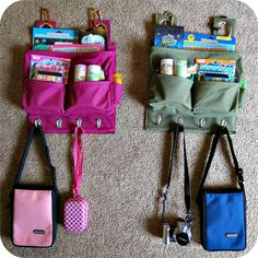 """""""Busy Bags"""" to hang with caribiners on the back of the driver and passenger seats. Fill will all kinds of goodies to keep the kiddos occupied."""