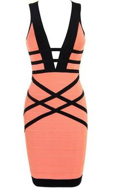 Whoinshop Womens V Neck Strapless Clubwear Bodycon Bandage Dress