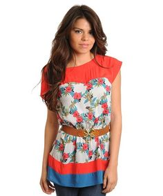 FLOWER TOP WITH BELT