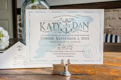 Lakeside Wisconsin Letterpress Wedding Invitations by Lucky Luxe Couture Correspondence via Oh So Beautiful Paper (5)