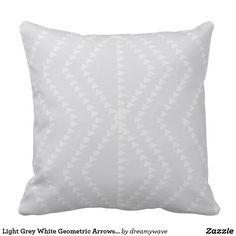 Shop Light Grey White Geometric Arrows Pillow created by dreamywave. Arrow Pillow, Geometric Arrow, Grey Pillows, Colorful Pillows, Shop Lighting, Custom Pillows, Arrows, Grey And White, Duvet