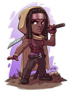 Michonne - the Walking Dead Chibi Marvel, Marvel Art, Cartoon Design, Cartoon Art, Anime Chibi, Logo Super Heros, Game Character, Character Design, Desenho New School